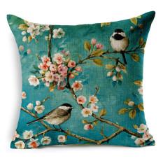 Cotton Linen Square Bantal Bantal Bantal Bantal Cushion Cover Dicetak dengan Cherry Blossoms dan Burung Gambar Desain KZ018-002-Intl
