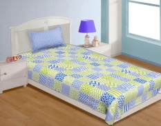 Cotton Single Size Bedding Set 2 Pcs Check Pattern Bedsheet Pillowcase Flatsheets 144 TC Bed Linen - Blue