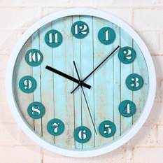 Pedesaan Kayu Customs Retro Dinding Bahari ClockRound Novelty Asetat/Plastik Indoor Clock-Intl