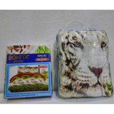 Couple Sprei + Selimut Super Lembut Dan Tebal Merk Bonita - WHITE TIGER Uk. 180/160X200 CM