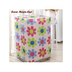 Cover Mesin Cuci  Bahan Satin Anti Air - 1 Tabung Bukaan Depan (Front Loading)  - Motif Bunga Warna Warni