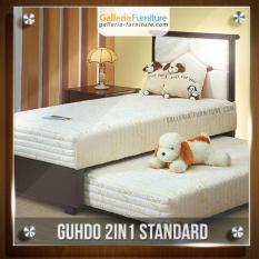 Bed Sorong 2 in 1 Standar sandaran Paris 120x200 cm (Lengkap Kasur atas, Sorong bawah & Sandaran Guhdo)[Cream]