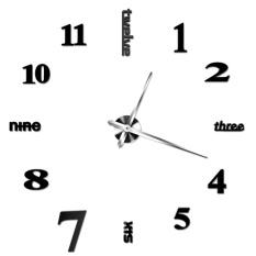 Creative DIY Jam Dinding Kamar Tidur Luar Biasa Jam Dinding ModernPersonality Art (Hitam)-Intl