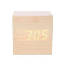 Kreatif Jam Alarm LED Cube Kayu Kontrol Suara LED Jam Digital (Hijau)-Intl de1c25650d