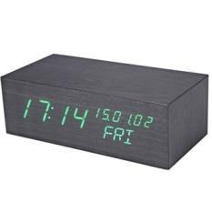 Creative Wooden LED Clock Temperature Display Perpetual Calendar Alarm - intl
