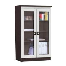 CREOVA Lemari Buku Lemari Arsip Pintu Kaca Seri 2604 Coklat