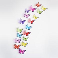 Crystal 18 Pcs 3D Kupu-kupu DIY Dekorasi Rumah Wall Stiker untuk Anak-anak Kamar Dekorasi Partai Natal Dapur Kulkas Decal- INTL