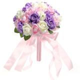 Pernikahan Ayu Bridal Kristal Buket Bunga Mawar Busa Gading Berwarna Merah Muda Ungu Oem Diskon 40