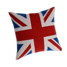 Katun Bantal Bantal Cover English dan Bendera Nasional Amerika Pillow Case-MERAH