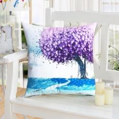 Cushion Cover Dicetak dengan Minyak Menggambar Plush Bantal Kasus Terang Dalam Warna # A Pohon Ungu-Intl