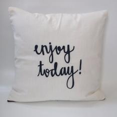 Promo Cushion Cover Sarung Bantal Sofa Enjoy Today White Stiletto In Style Terbaru