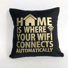 Harga Cushion Cover Sarung Bantal Wifi Black Gold Stiletto In Style Terbaik