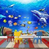 Beli Custom 3D Coral Dolphins Fish Lantai Terumbu Mural Foto Lantai Wallpaper Home Wall Decal Untuk Kamar Mandi Ruang Tamu Internasional Kredit Tiongkok