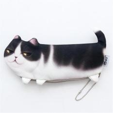 Lucu 3D Cat Kotak Pensil Pena Makeup Kantong Kosmetik Zipper Dompet Koin Tas Dompet-Internasional