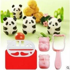 Cute Baby Panda Set Rice Mold Cetakan Pencetak Cetak Gagang Nasi Rice Sushi Bento Set Tools + Nori Seaweed Cutter Puncher - Cetakan Bento Cetakan Nasi Cetakan Murah