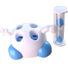 Cute Kreatif Sikat Gigi Kursi 4 Lubang Sikat Gigi Rack dengan Pasir Jam 3 Menit Berdiri Rumah Tangga Kamar Mandi Set Biru -Intl