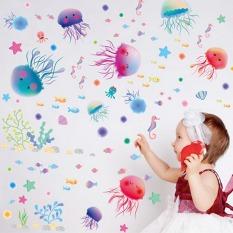 Ikan perairan laut ubur-ubur lucu stiker dinding rumah stiker PVC mural vinil Paper House dekorasi Wallpaper ruang tamu kamar tidur dapur gambar seni buatan sendiri untuk anak remaja dewasa bayi Senior bibit - International