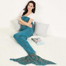 Cyber Baru Knit Mermaid Tail Desain Fishtail Blanket Selimut Tidur (Hijau)-Intl