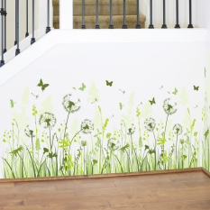 Dandelions Flowers Butterflies Green Leaves Wall Decal Home Sticker PVC Murals Vinyl Paper House Decoration Wallpaper Living Room Bedroom Kitchen Art Picture DIY for Children Teen Senior Adult Nursery Baby - Intl
