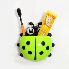 DapurBunda Ladybug Toothbrush / Dispenser Odol Tempat Sikat Gigi Kumbang / Holder Wall Mount Suction Sucker Hook Home Bathroom - HIJAU