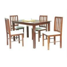 Ulasan Lengkap Decoku Holly Dining Set 1 Meja Makan 4 Kursi Makan Kayu Coklat Jabodetabek Only