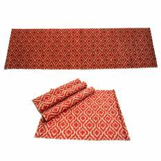 Decoku motif Clover Merah Bundling 1 Taplak Meja + 4 Alas Makan