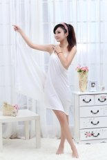 Beli Deep V S*Xy Ice Silk Condole Belt Beach Dress Yang Bagus