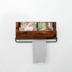 Del Hutson Desain-Pallet Shelf W/Handuk, USA Handmade Reclaimed Wood, Wall Mounted, Dapur Kamar Mandi Rak Handuk (Dark Walnut)-Intl