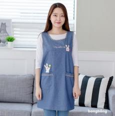 Denim Fashion Korea Celemek Kartun Lucu Cozinha Tanpa Lengan Dewasa Apron Dapur Guru TK Sekolah Aprons Avental-Intl