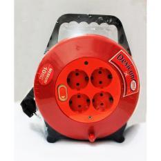Dexicon Kabel Roll 10M Tembaga dengan 4 Stop Kontak & Saklar+ Lampu