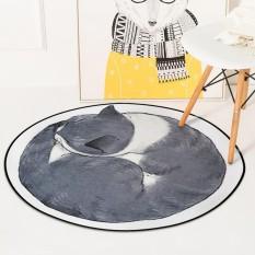 Diameter 60 Cm Kartun Round Cat Lantai Mat Karpet Non Slip Kursi Komputer Mats Baby Crawling Rug Bedroom Soft Samping Tempat Tidur Footcloth-Intl