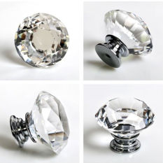 Bentuk Diamond Kristal Kaca Gagang Pintu Dapur Lemari Laci Tombol-Internasional