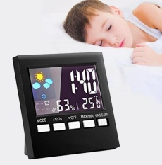 Jual Digital Indoor Temperature And Humidity Monitor Alarm Clock With Time Date And Night Lighting Lcd Screen Displaying Black Intl Online