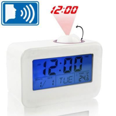 Spesifikasi Digital Led Sound Talking Controlled Projector Clock White Murah