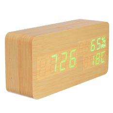Harga Jam Alarm Termometor Digital Led With Kontrol Suara Snooze Bahan Kayu Termurah