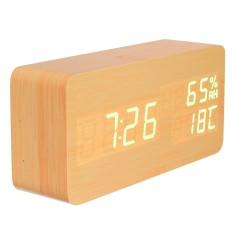 Jual Led Digital Kontrol Suara Kayu Meja Kayu Snooze Alarm Jam Pengatur Waktu Termometer Oem Murah