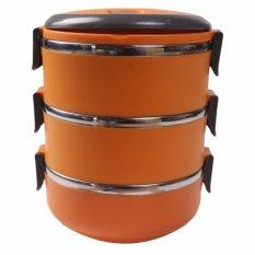 Jual Dinemate Eco Lunch Box Stainless Steel Rantang 3 Susun Orange Online Jawa Barat