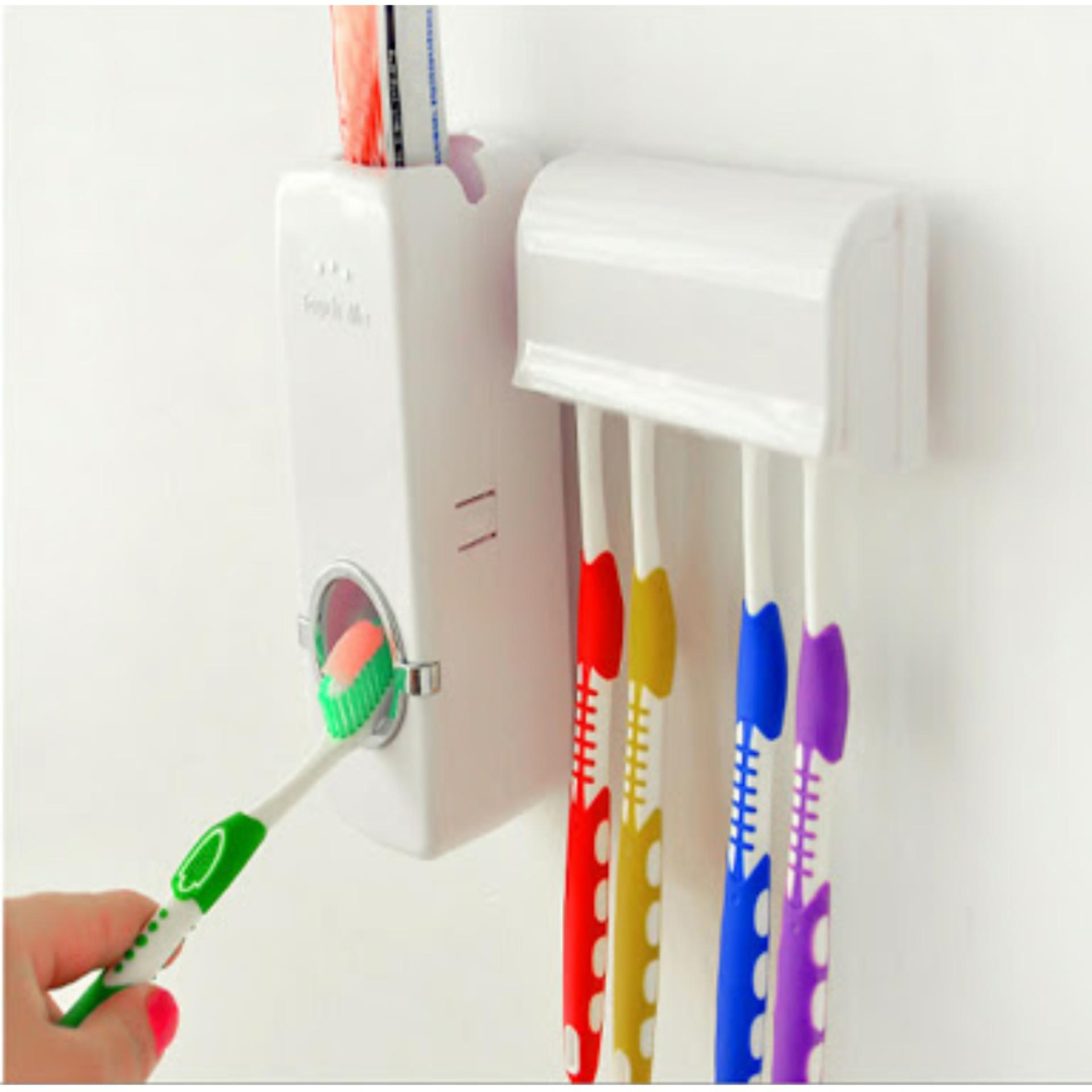 Dispenser Odol / Peralatan kamar mandi tempat penyimpanan sikat gigi dan odol Automatic Toothpaste Dispenser Model Terbaru