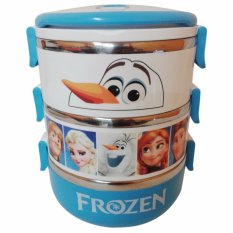 Beli Diva Davi Lunch Box Rantang Susun 3 Stainless Steel Karakter Frozen Biru Lengkap
