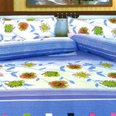 Dixon Set Sprei Dewasa 100 Katun 180X200 Blue Flower Multicolor Dki Jakarta