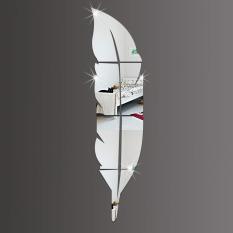 DIY 3D Bulu Kaca Cermin Stiker Dinding Vinil Stiker Dekorasi Lukisan Dinding Rumah