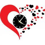 Toko Diy 3D Hearts Mirror Wall Clock Ruang Tamu Kamar Tidur Dekorasi Kamar Mandi Warna Merah Hitam Intl Lengkap Tiongkok