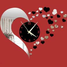 Diy 3D Hearts Mirror Wall Clock Ruang Tamu Kamar Tidur Dekorasi Kamar Mandi Warna Perak Hitam Intl Oem Diskon 40