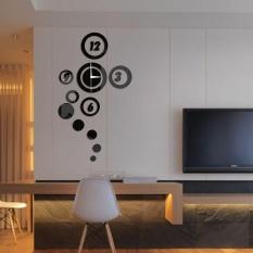 DIY 3D Rumah Modern Dekorasi Ruang Tamu Kamar Tidur Permukaan Cermin Wall Clock-Intl