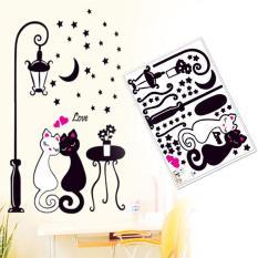 DIY Pasangan Kucing Lampu Jalan Mural Dinding Stiker Decals Kamar Tidur Dekorasi Rumah-Internasional