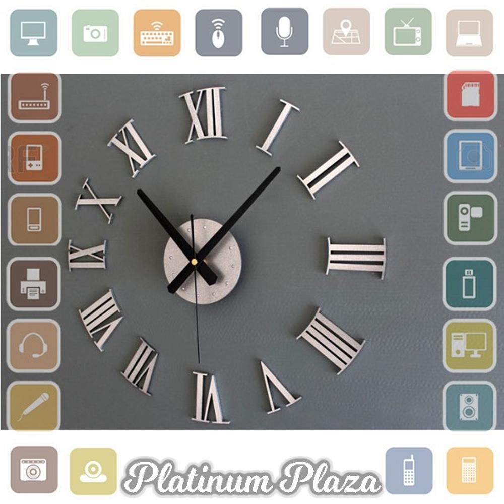 DIY Giant Wall Clock 30-60Cm Diameter - ELET00662 - Jam Dinding - Silver