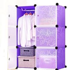 Diskon Diy Grid Storage Cabinets Wardrobe For *d*lt 6 Door Lemari Pakaian Purple Diy