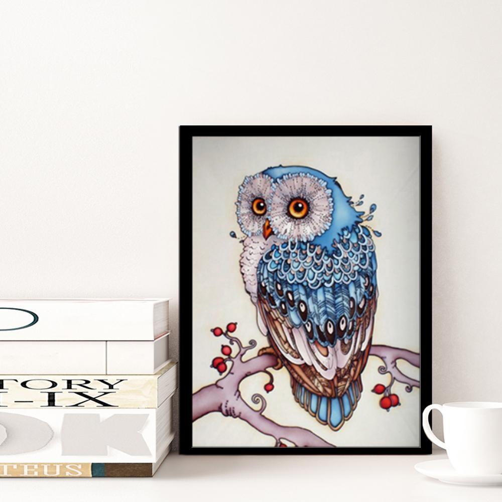 DIY Handmade 5D Diamond Lukisan Berlian Imitasi Disisipkan Cross Stitch Blue Owl Pola untuk Dekorasi Dinding Rumah-Internasional