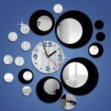 Spesifikasi Diy Modern Circles Design Acrylic Mirror Black Silver Wall Clock Mural Sticker Oem