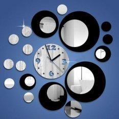 Diskon Diy Modern Circles Design Acrylic Mirror Black Silver Wall Clock Mural Sticker Oem